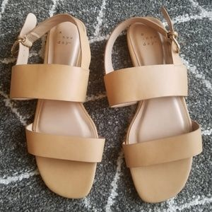 Two Band Buckle Slide Sandals